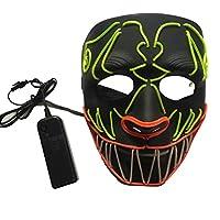 ハロウィーンマスク、三色 混合 組み合わせる led光るマスク 悪魔ホラー顔 パーティー 仮装 マスク仮装小道具 プチ仮装 仮装大会|記念日|学園祭|新年会|仮面舞踏会