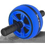 HACFIT 腹筋ローラー マット付き アブローラー 超大 アブホイール 静音 安定 腹筋 筋トレ 器具 スリムトレーナー TPR ゴム 一輪 エクササイズローラー 保護マット付き エクササイズウィル 耐荷重400KG 簡単に組立 収納便利 男女兼用 1年間保証 三色 (ブルー)