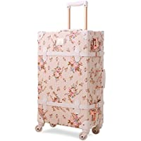 Unitravel Suitcase Women Vintage Travel Trolley Case Retro Floral Trunk with Spinner Wheels for Girls Carry On Luggage