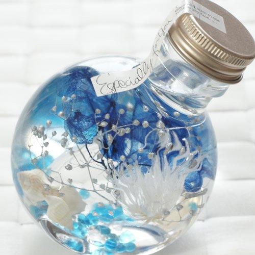ハーバリウム 丸ボトル (マリンブルー)...