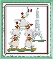 LovetheFamily クロスステッチキット DIY 手作り刺繍キット 正確な図柄印刷クロスステッチ 家庭刺繍装飾品 11CT ( インチ当たり11個の小さな格子)中程度の格子 刺しゅうキット フレームがない - 43×47 cm 5つの自信のある雄鶏