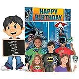 バットマン バースデーパーティー フォトブース ウォールデコレーションキット スーパーヒーローがテーマの写真小道具付き カスタマイズ可能なメッセージボードフォトアクセサリー