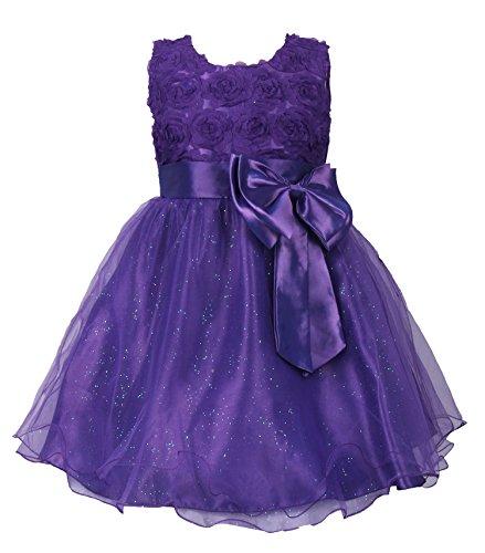JerrisApparel子供たちは女の子のパーティースカートフォーマルな花のドレス発表会結婚式入学式のコンサート花嫁介添人の王女のドレス (110cm, 紫の)
