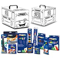 (Art Kit) - Dixon Prang Art Kit with School Bus Activity Box, Includes Markers, Crayons, Pencils, Pens and Watercolours, Assorted Colours (43105)