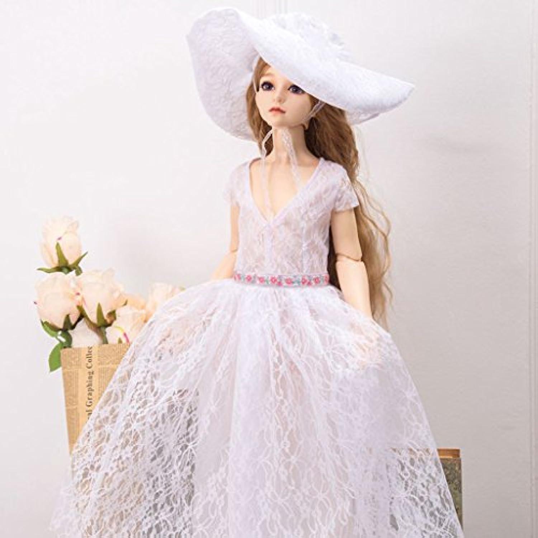 Lovoski ドール用 エレガント  レース  Vネック  ドレス  帽子付き  1/4 BJD SD DD LUTSドルフィー対応  2色選べる  - ホワイト