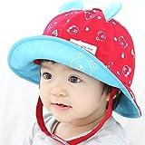 Meilleur reve(メイヤーリーブ)【選べる5色】 赤ちゃん ベビー キッズ 子供 用 帽子 女の子 男の子 かわいい くまさん デザイン つば 付き 日焼け UV 日よけ(05レッド)