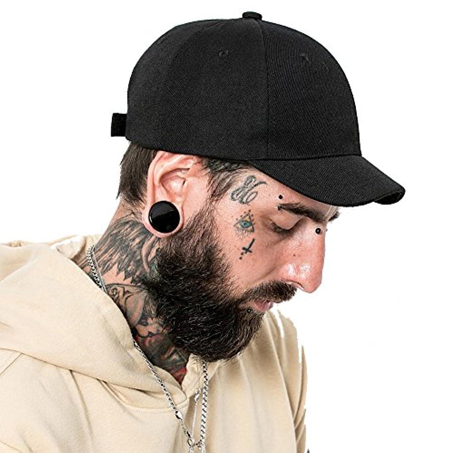 診療所腐敗抽象化Clape ショートブリム 帽子 コットンツイル スウェット ベースボールキャップ 短ツバ BBキャップ ソリッドトラック/野球スタイルの帽子