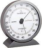 エンペックス気象計 温度湿度計 スーパーEX 高品質温湿度計 置き掛け兼用 日本製 メタリックグレー EX-2717