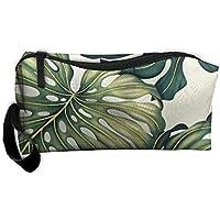 レディースガールズトロピカルハワイアンモンステラグリーンポータブルBuggyバッグ旅行メイクアップクラッチバッグハンドル化粧品バッグ多機能ブラシコスメティックバッグポーチオーガナイザーバッグ