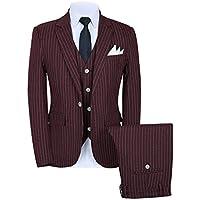 MOGU Men's Pinstripe Suit 3 Piece Slim Fit Casual Dress Suits Blazer+Vest+Pants