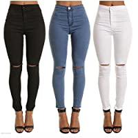 Woman Denim Jeans Distressed Jeggings Trousers Stretch Ripped Hole Denim Pants J Navy M