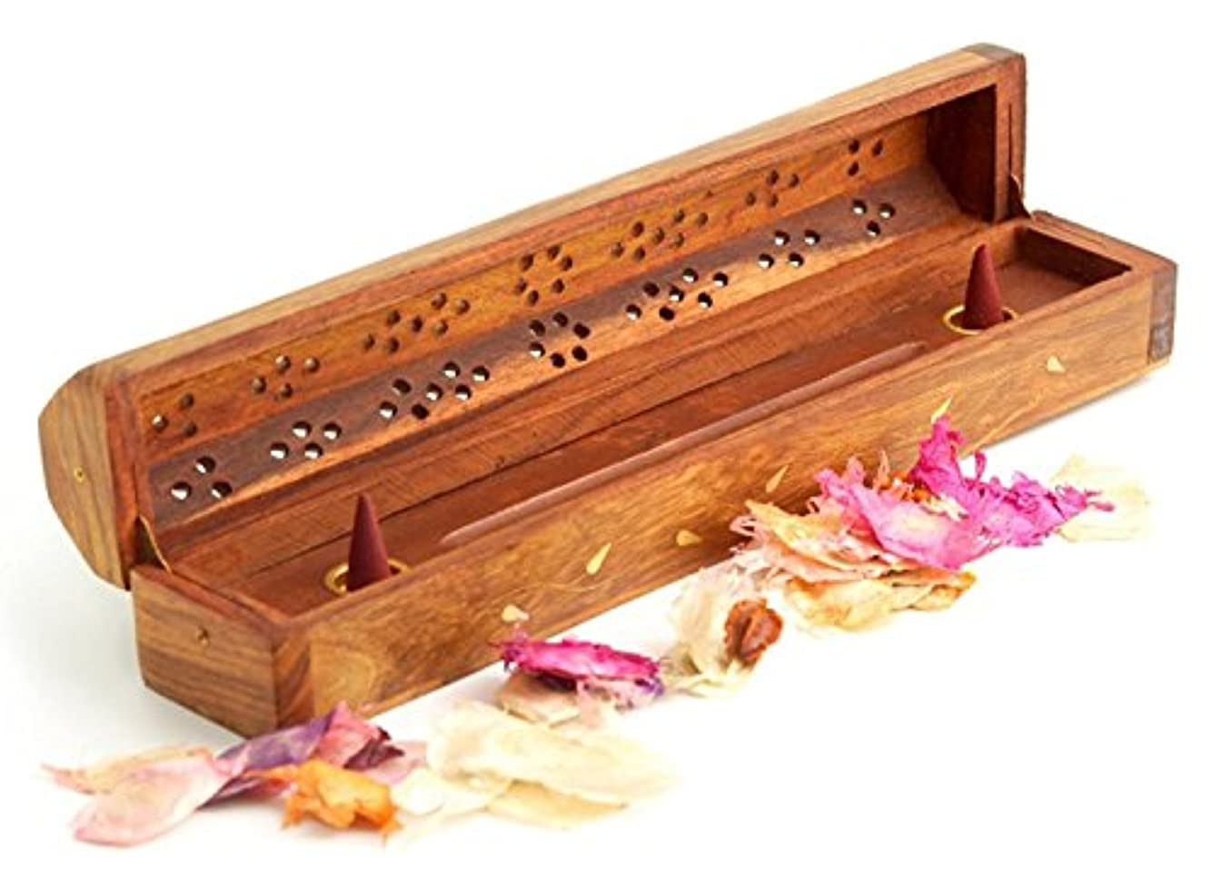 Wooden Coffin Incense Burner - Vines 12 - Brass Inlays - Storage Compartment by Accessories - Coffin Burners