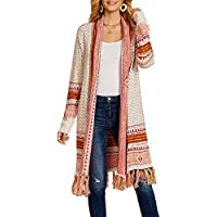 Ferbia Women Boho Cardigan Open Front Long Maxi Knit Sweaters Aztec Tribal Tassel Fringe Thin Coat