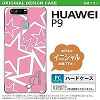 P9 スマホケース HUAWEI ケース ファーウェイ ピーナイン イニシャル 星 ピンク×白 nk-p9-1118ini Z