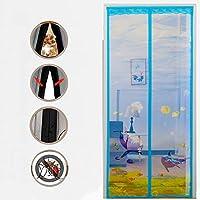 BMY 頑丈な網カーテンが付いている磁気はえスクリーンのドア、フルフレームのマジックテープはドアのカーテンのオートクローザー青90x210cm(35x83inch)を飛ばします