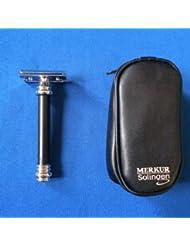 メルクール髭剃り(ひげそり) 38011ブラック(専用革ケース付)