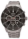 セイコー #SKS527 Men's IP Bezel ステンレススチール Black Dial Chronograph Sports Watch [並行輸入品]