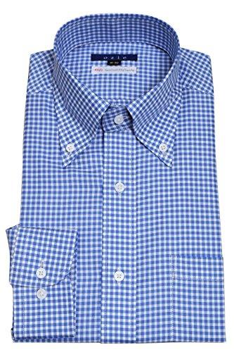 (オジエ) ozie 〔00004000〕【メンズ・ドレスシャツ・ワイシャツ】細身スリムタイトフィット・プレミアムコットン超長綿スビンゴールド・ピンポイントオックスフォード・ボタンダウン・ギンガムチェック ブルー青