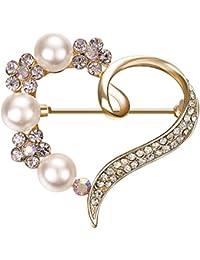 Yoursfs ハートブローチ 選べる アクセサリー パール 真珠 バラ クリスタル ラインストーン 愛のハート ブローチピン コスチュームジュエリー