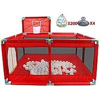 ポータブルPlayardベビーチャイルド子供バスケットボールのフープとボールで折り畳み式の遊び場を再生するPen Room Divider Oxford Cloth 8サイドパネル (色 : 200 Balls)
