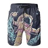 スペースマンスイングムーンメンズ/ボーイズカジュアル速乾性のあるバススーツ弾性ウエストビーチパンツポケットXL