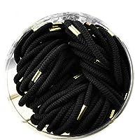 Perfk バックル付き 70個 弾性ゴム バンド ロープ ヘア ポニーテール ホルダー ゴムバンド ヘアリング 全2種類 - ブラック