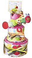 3段 はらぺこあおむし 名入れ おむつケーキ harapkeo-name(ピンク 、Sパンパース)