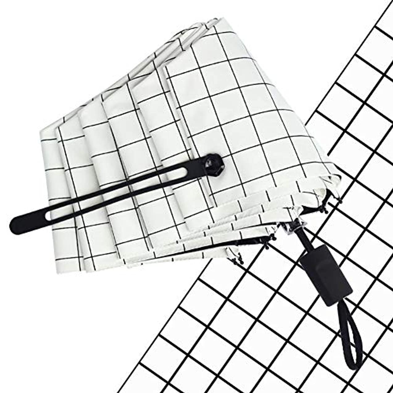 信じる囲むビンChuangshengnet シンプルラティスビニールアンチUV折りたたみ日当たりと雨のデュアルユースメンズ傘 (サイズ : ブラック)