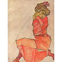 Egon Schiele Kneeling Female In Orange Red Dress Large Art Print Poster Wall Decor Premium Mural オレンジドレス大アートポスター壁デコ