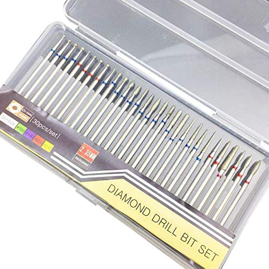 有害な分布とRETYLY 30個 電動マニキュア機用 アクセサリーセクションダイヤモンドネイルドリルビットセットフライスカッターロータリーバリカッタークリーンファイルB