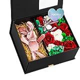 ソープフラワー 石鹸花束(21.5 * 25 * 10.5cm) バラ プレゼント クリスマス バレンタインデー お誕生日 記念日 結婚お祝い 母の日 ロマンチック カード付き ボックス入り (レッド)