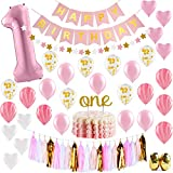 1st Birthday Girl Decorations & Party Supplies Happy Birthday Banner,