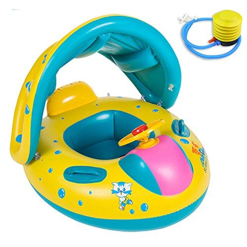 mikketa 2歳児のプールデビュー 安心の足入れ式 屋根付き 子供用 ベビー浮き輪 空気入れセッ...