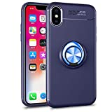iPhone Xsケース/iPhone X ケース 5.8インチ [ 超薄型 超軽量 リング付き 耐衝撃 ] スタンド機能 車載ホルダー対応 スマホケース シンプル おしゃれ アイフォンケース アイフォンXS ケース (iPhone Xs/X, ブルー+ブルー)