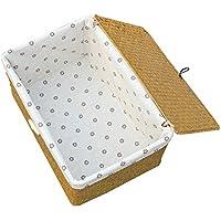 kagoMsa 収納ボックス 天然素材 バスケット 内布 かご 海草編み インテリア和室 フタ付き