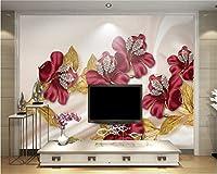 Bzbhart カスタム壁紙3Dの高級ダイヤモンドの花の宝石類のテレビの背景の壁3Dの壁紙の壁画-350cmx245cm