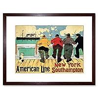 Travel Ad Ship American Line Southampton New York Vintage Framed Wall Art Print 旅行船アメリカ人ニューヨークビンテージ壁
