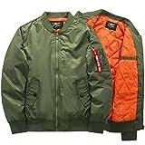 LIinfa ジャケット MA-1 メンズ ブルゾン ミリタリー 中綿 大きいサイズ 野球ウェア 冬服 冬物 3色 M-6XL (L, アーミーグリーン)