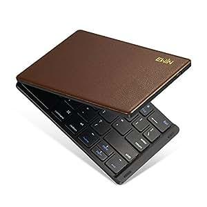 Ewin 新型 Bluetoothキーボード 折りたたみ式 157g 超軽量 薄型 レザーカバー 財布型 ワイヤレスキーボード USB 薄型 IOS/Android/Windows に対応 スマホ用 スタンド付 【日本語説明書と18月保証付き】 (ブラウン)