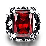 Rockyu 指輪 メンズ クロムハーツ ステンレス リング シルバー ブラック 印台リング ダイヤモンド 大粒 4本爪 (大赤, 19)