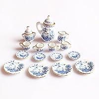 MonkeyJack 1/12th Dining Ware China Ceramic Tea Set Dolls House Miniatures Blue Flower