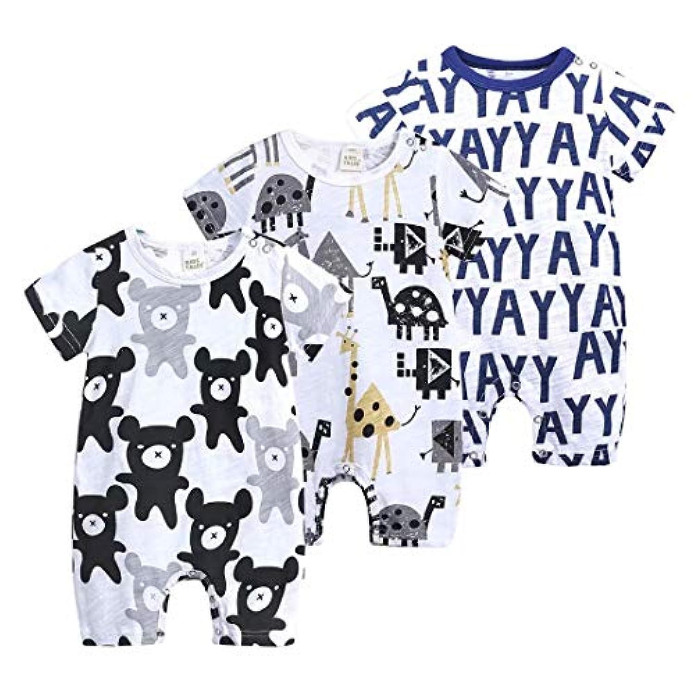 AMIGGOO ベビー ロンパース 半袖 3枚セット 新生児 オールインワン 男の子 女の子 肩ボタン 動物柄 コットン カバーオール 59 66 73 80 90