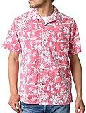 [ルーシャット] アロハシャツ コットン 裏使い 総柄プリントシャツ レッド S