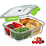 PREMIUM QUALITY 1040 ML 3 Compartment Glass Lunch box/Food Storage Containers - Meal Prep BPA Free Lunch Containers with Smart For Snap Locking Tritan Lid Guarantee 100% Airtight Leakproof … (Green)