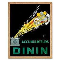 Advert Automobile Car Battery Batteries Dinin France Art Print Framed Poster Wall Decor 12X16 Inch 広告自動車フランスポスター壁デコ