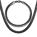 U7 喜平チェーン メンズ ネックレスブレスレット セット 黒色メッキ ヒップホップ アクセサリー[NH739]