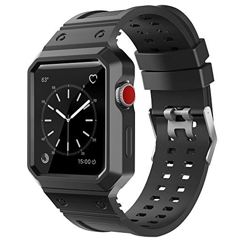BRG apple watch バンド,ケース付きの一体式のバンド アップルウォッチバンド アップルウォッチ1 apple watch series 2 apple watch series 3 TPU素材(42mm,ブラック)