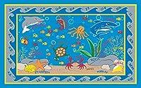 Kid Carpet FE721-22A Fish In The Sea Nylon Area Rug 4' x 6' Multicolored [並行輸入品]