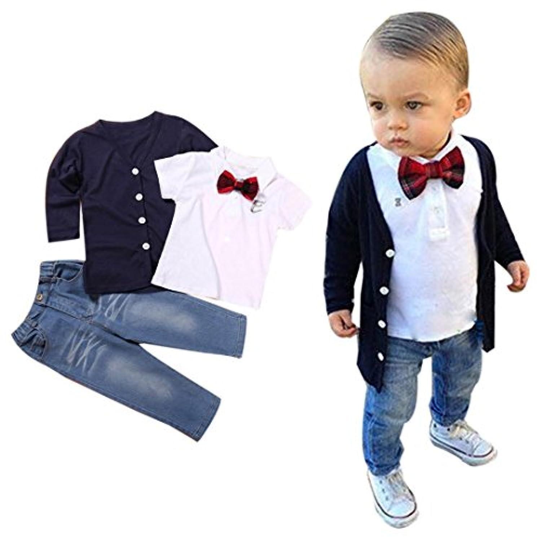 ホットセール2 – 7歳男児子供服服装、ベビー長袖Tシャツトップス+コート+パンツ 6T 1