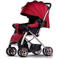 赤ちゃんのベビーカー、高い風景は、ポータブル折り畳み双方向のショックアブソーバのベビーカー四シーズンユニバーサル0-3赤ちゃんのベビーカー(赤)